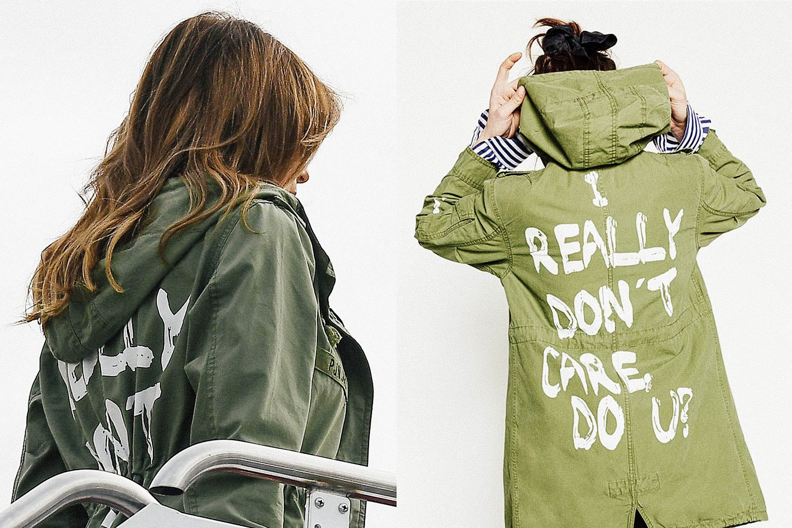 At left: Melania Trump boards a plane in the green jacket. At right: A product shot of the back of the jacket with the lettering visible.