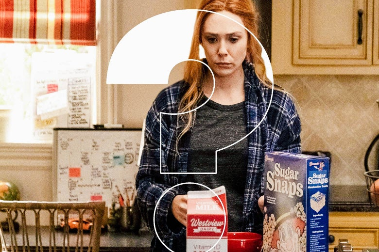 Elisabeth Olsen as Wanda, looking confused in 21st-century pajamas in the kitchen, with a big ol' question mark photoshopped over her
