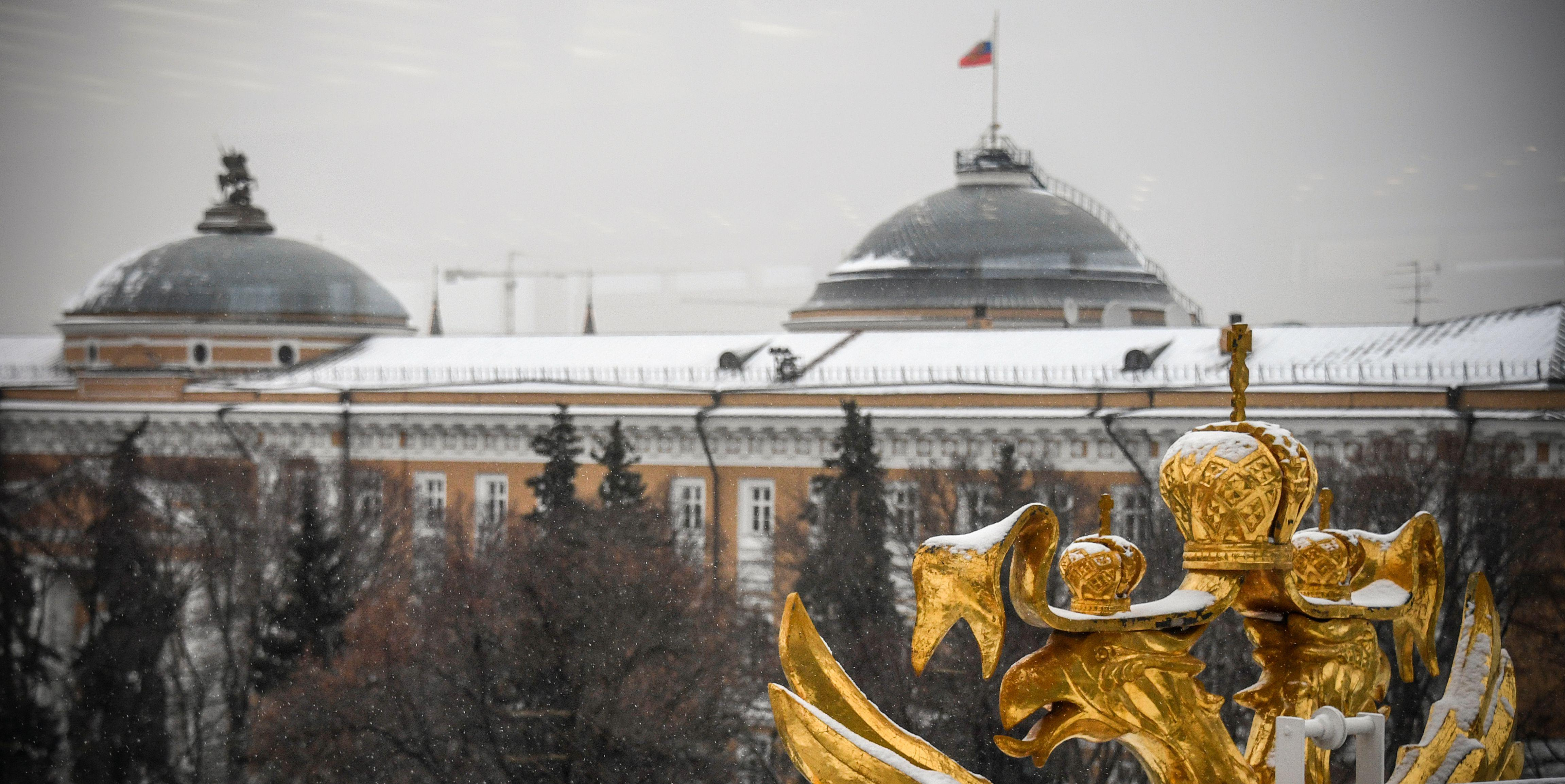 A general view of the so-called Building One of the Kremlin, which houses President Vladimir Putin's working office, in downtown Moscow on November 28, 2017.  / AFP PHOTO / Alexander NEMENOV        (Photo credit should read ALEXANDER NEMENOV/AFP/Getty Images)