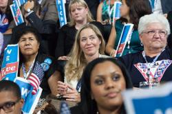 Delegates react to the first lady's speech.