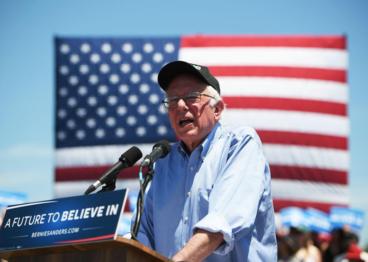 Democratic presidential candidate Bernie Sanders addresses a rally at the Santa Clara County Fairgrounds in San Jose, California on May 18, 2016.
