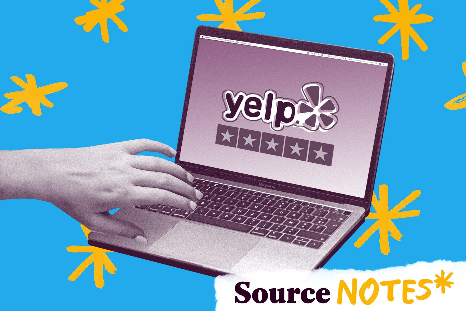 Photo illustration of a hand on a laptop showing the Yelp logo.