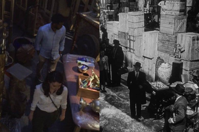 A side-by-side of the final scenes of Citizen Kane and The Good Fight's latest season, both showing investigators navigating a labyrinthine warehouse of old possessions.