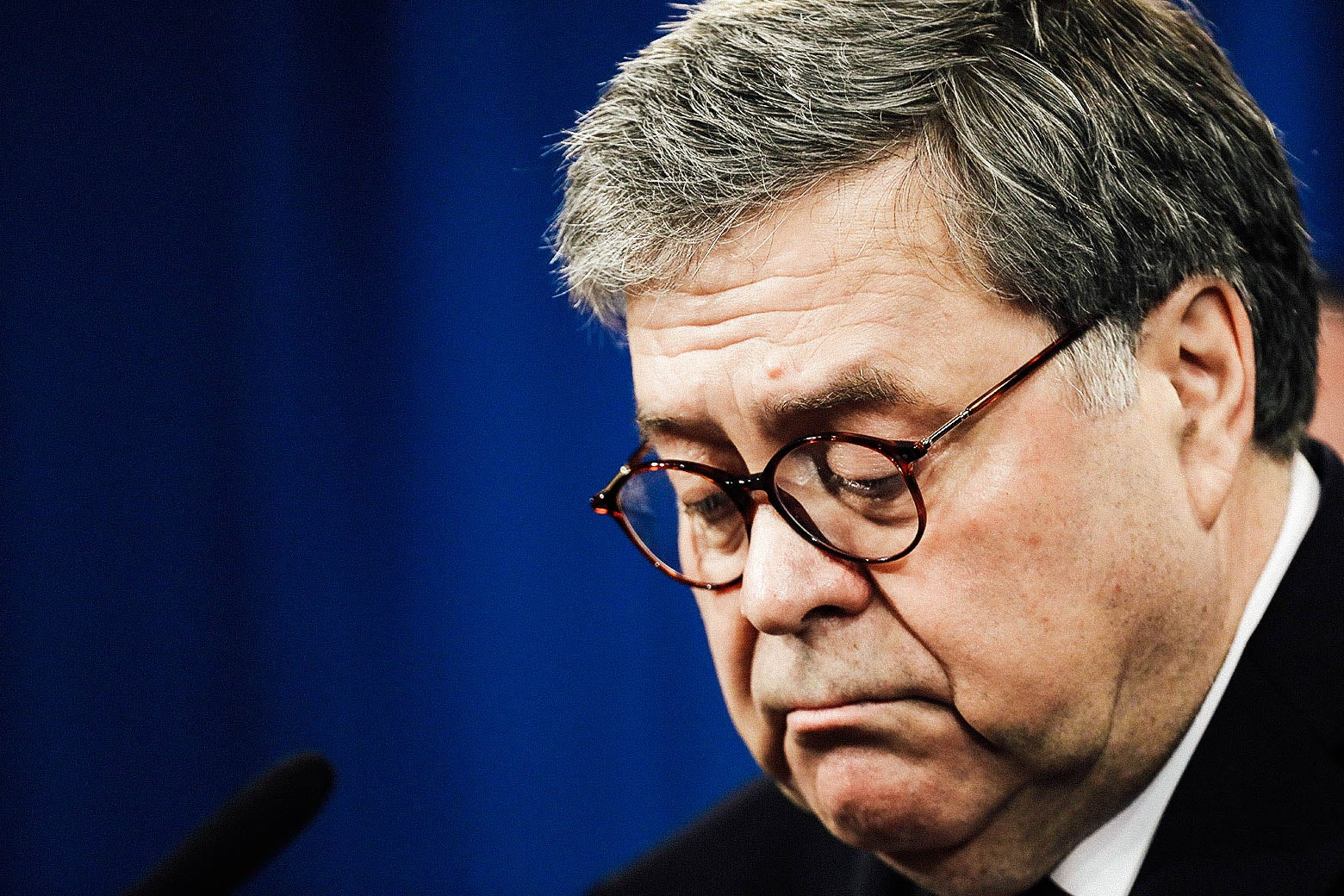 Attorney General William Barr speaks during a press conference about the Mueller report.