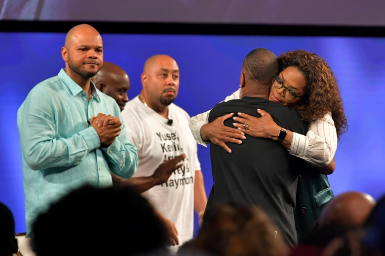 Oprah hugs Korey Wise after interview with the Exonerated Five.