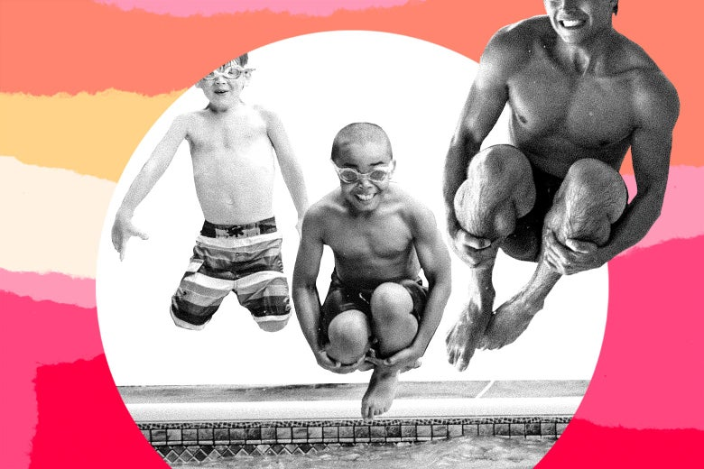 Photo illustration of a black child trying to cannonball into a pool.
