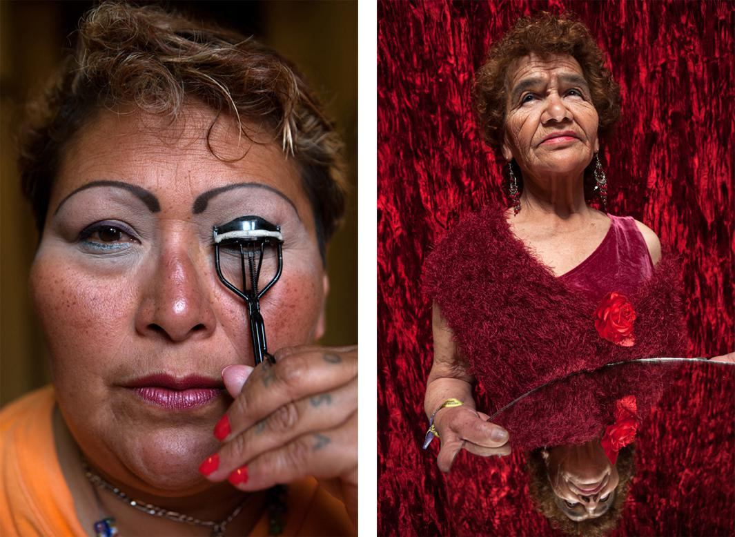 Left: 2008 - Mexico City - Paola, a resident at Casa Xochiquetzal, puts on makeup before going to work. When this photo was taken, she was one of the youngest women at the shelter and still worked the streets. On January 1, 2011, she disappeared and never came back. Right: 2008 - Mexico City - Portrait of Victoria, who, at age 81, is the oldest resident of Casa Xochiquetzal, a shelter for elderly sex workers in Mexico City.