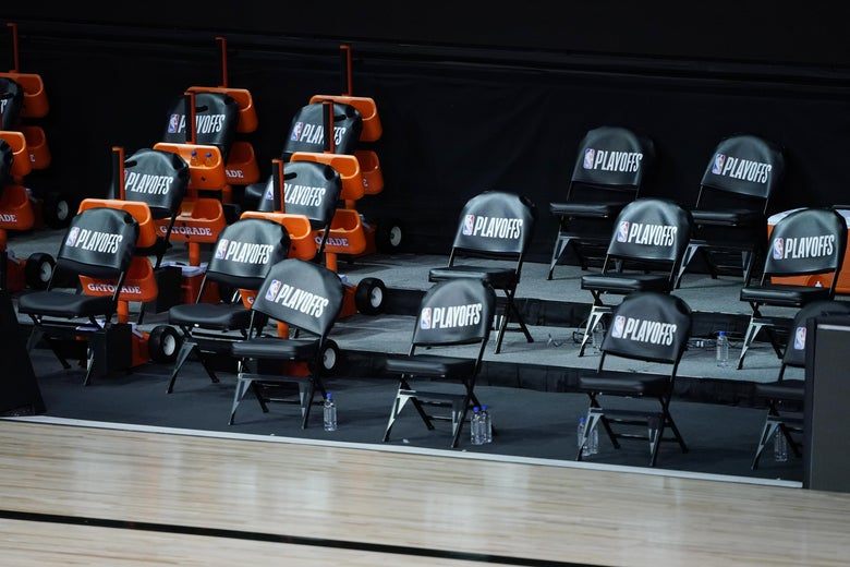 The Milwaukee Bucks' empty courtside chairs