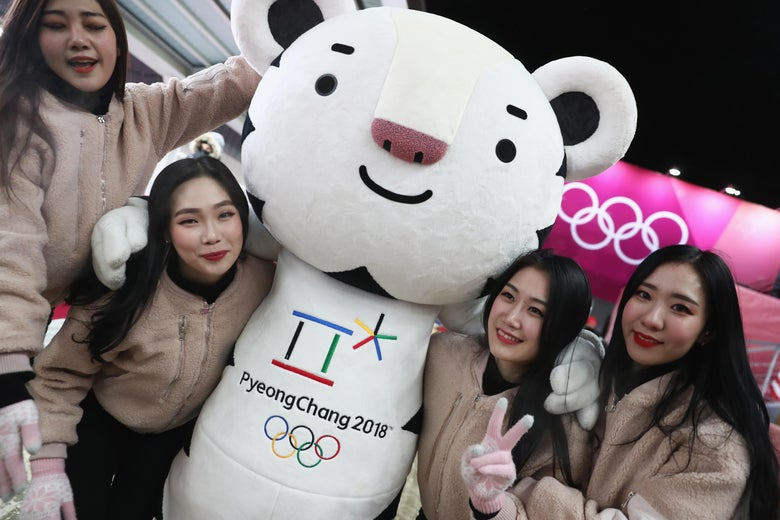 PYEONGCHANG-GUN, SOUTH KOREA - FEBRUARY 11:  Fans meet Soohorang the mascot during the Luge Men's Singles on day two of the PyeongChang 2018 Winter Olympic Games at Olympic Sliding Centre on February 11, 2018 in Pyeongchang-gun, South Korea.  (Photo by Alexander Hassenstein/Getty Images)