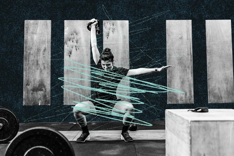 A woman in a squat lifting a kettlebell over her head with scribbles over the image.