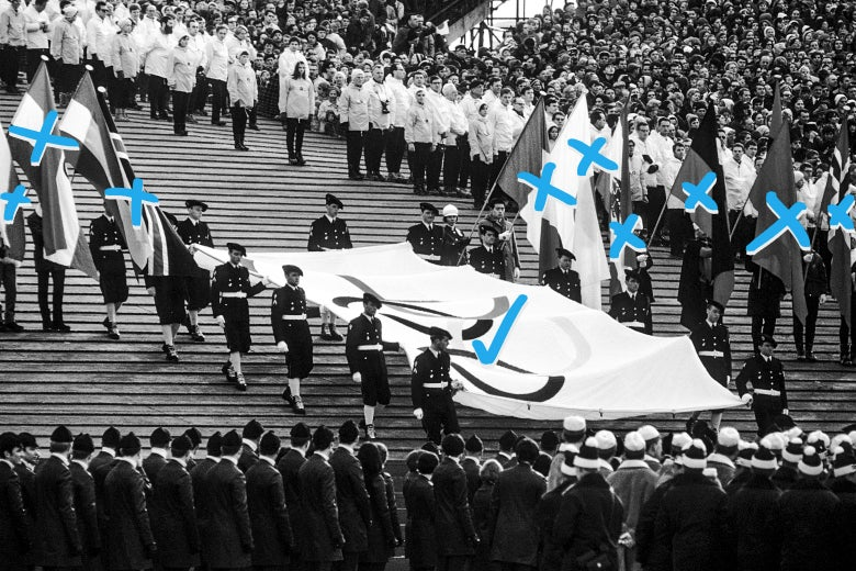 Presentation of Olympic flag during the opening ceremony of 1968 Winter Olympics on February 6, 1968 in Grenoble, France.