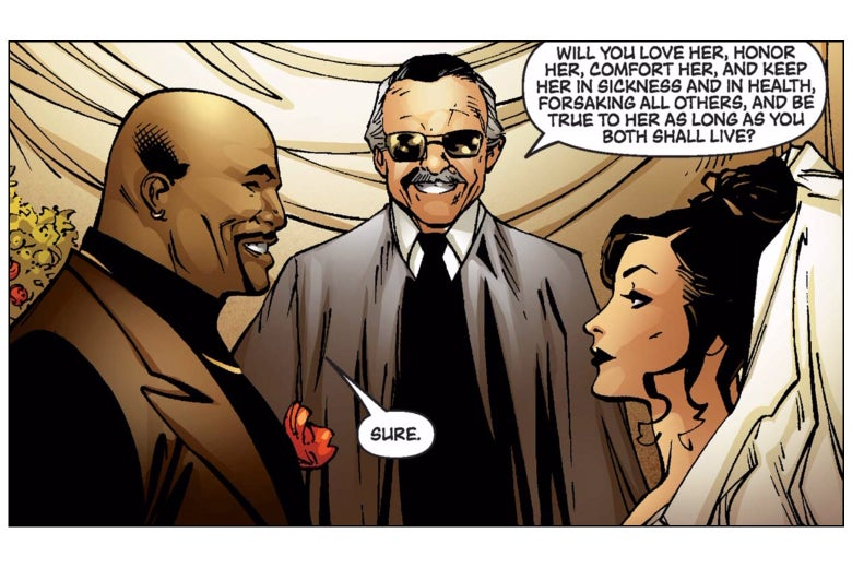 Stan Lee officiates the wedding of Luke Cage and Jessica Jones, smiling.