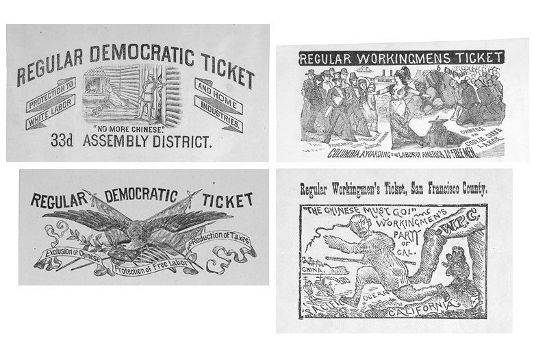 Four California voting ballots from the 1880s, one showing a bird, others showing anti-immigrant imagery.
