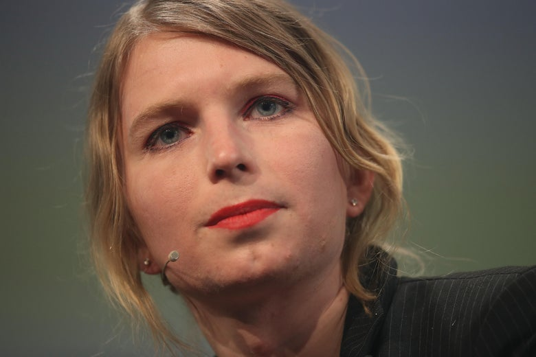 Close-up of Chelsea Manning.