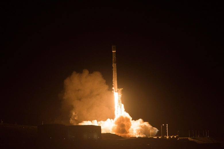 The SpaceX Falcon 9 rocket during a previous launch in California.