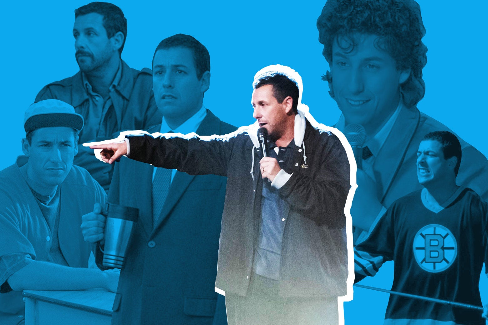 Adam Sandler, performing stand-up and in various roles.