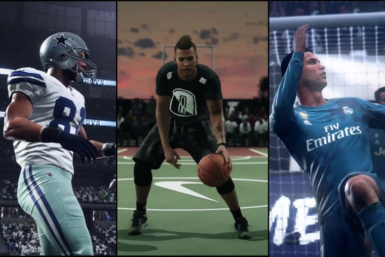 A football player, a basketball player, and a soccer player, as rendered in EA Sports games.