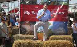 Republican presidential candidate and Texas Governor Rick Perry speaks to visitors at the Iowa State Fair. Click image to expand.