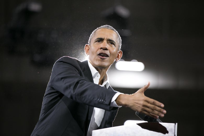 Former President Barack Obama addresses a crowd at Morehouse College on Nov. 2 in Atlanta.