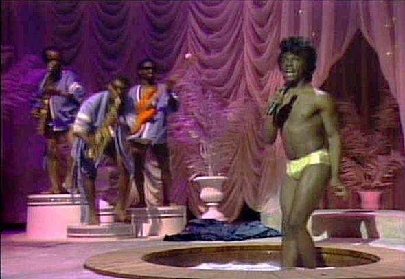Eddie Murphy during his James Brown's Celebrity Hot Tub Party skit at SNL.
