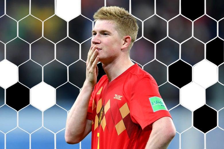 Kevin De Bruyne of Belgium looks dejected.