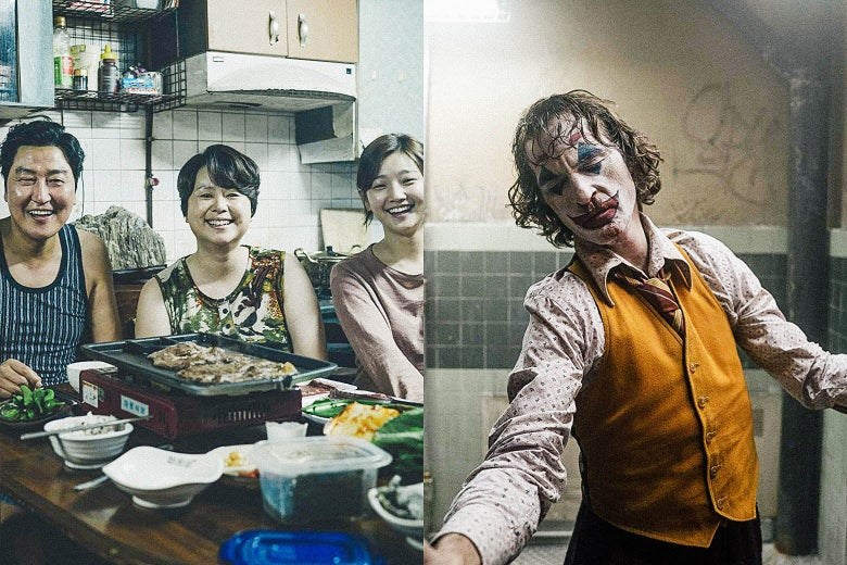 The family in Parasite eating dinner together. Joaquin Phoenix as the Joker.