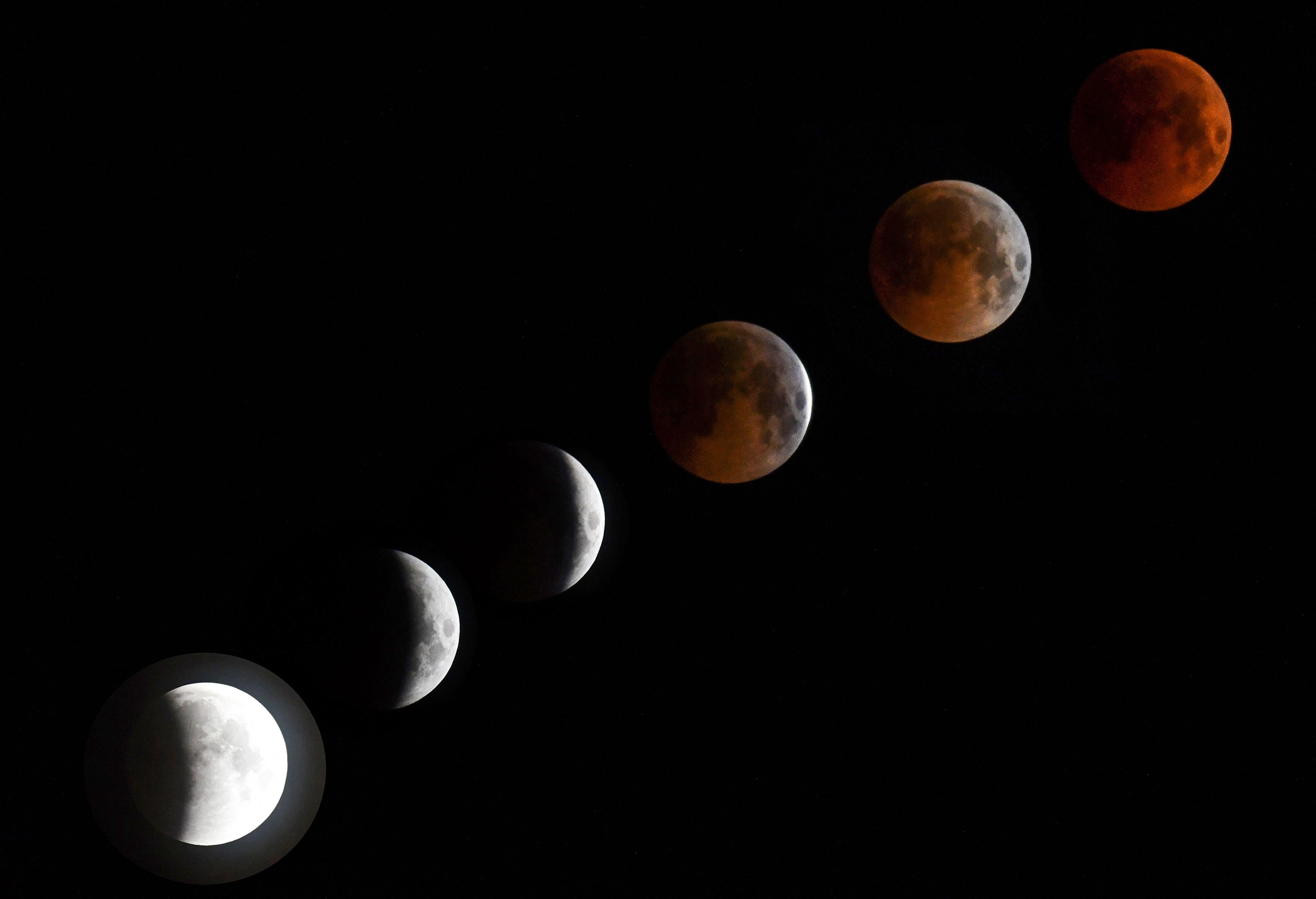 A combo of six pictures shows a 'blood moon' total lunar eclipse in Bishkek late on July 27, 2018.