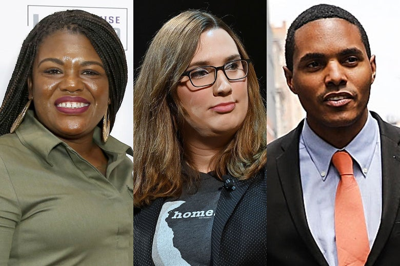 A side-by-side of headshots of Cori Bush, Sarah McBride, and Ritchie Torres.