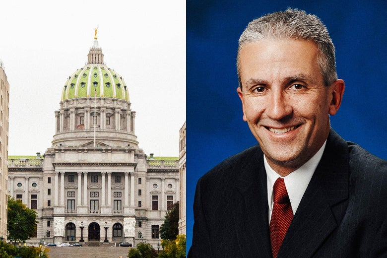Photo illustration side by side of the Pennsylvania State Capitol Building and a portrait of Pennsylvania State Senator Mike Folmer.