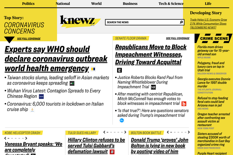 The homepage of Knewz.com