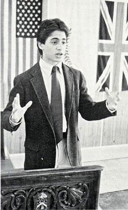 Mark Oppenheimer, age 14, competes at the World Debate and Public Speaking Championships, Reading Blue Coat School, England, May 1989. He made the semifinals in the interpretive reading category; his selection was John F. Kennedy's inaugural address.