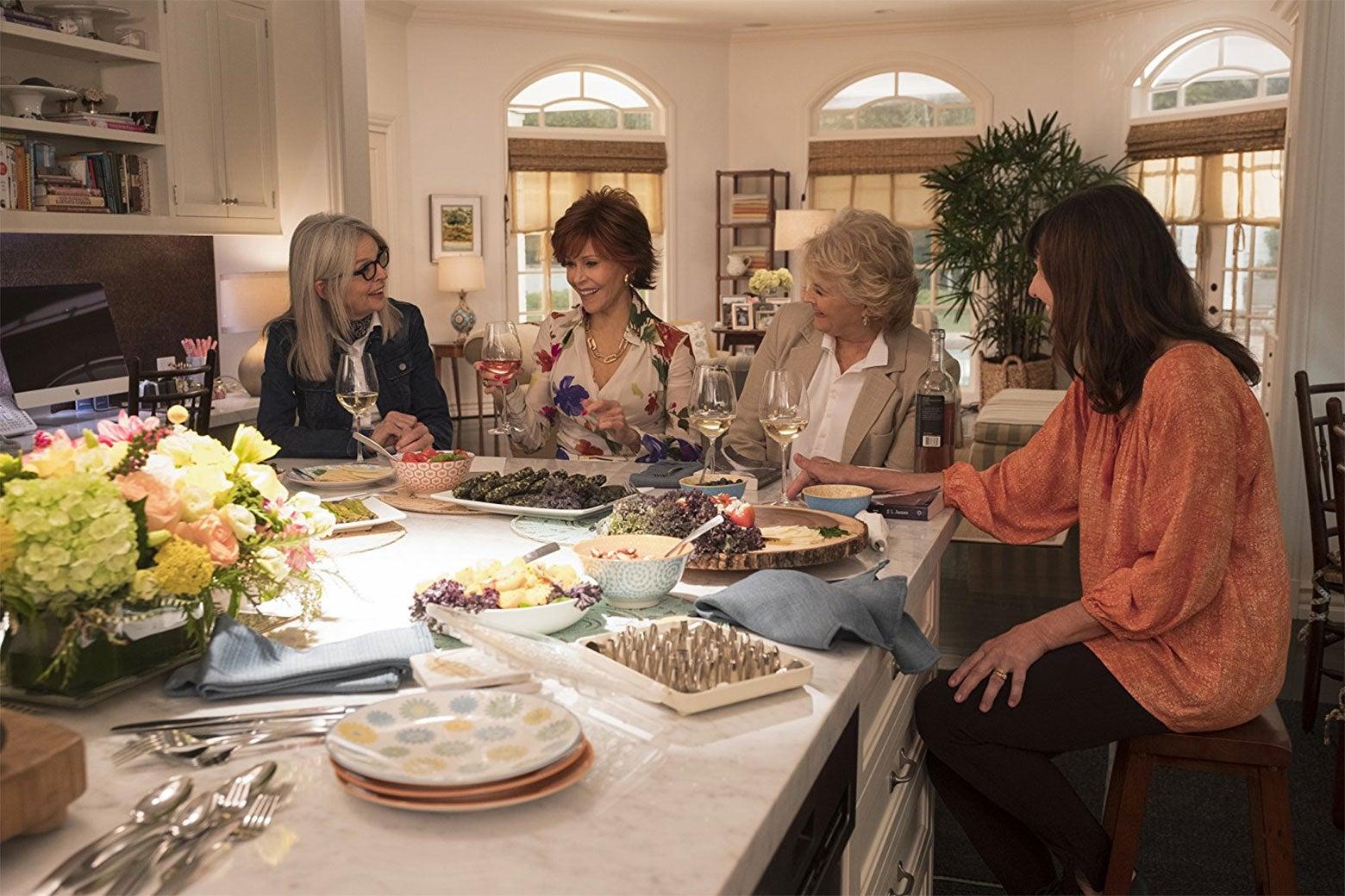 Candice Bergen, Jane Fonda, Diane Keaton, and Mary Steenburgen in the movie Book Club.
