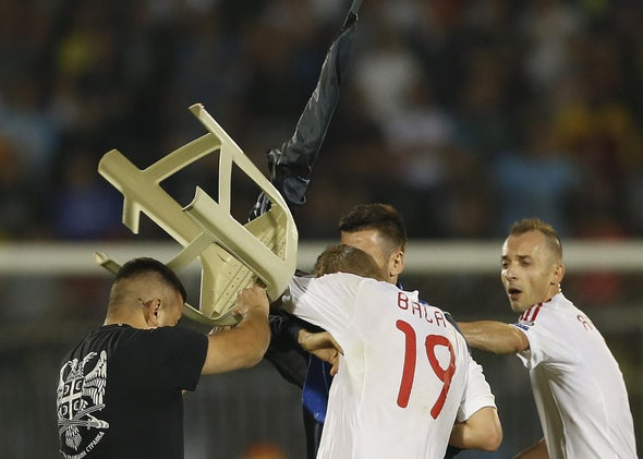 Drone Flying Political Banner on Field Starts Player Brawl, Fan Riot at Euro Soccer Match