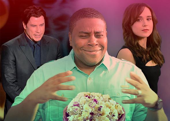 John Travolta, Kenan Thompson, a potato salad, and Ellen Page