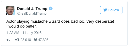 Actor playing mustache wizard does bad job. Very desperate! I would do better.