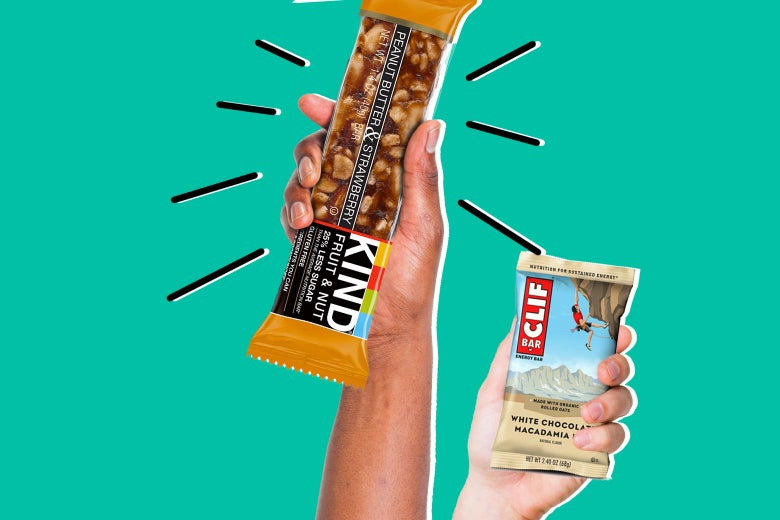 a Kind bar and a Clif bar