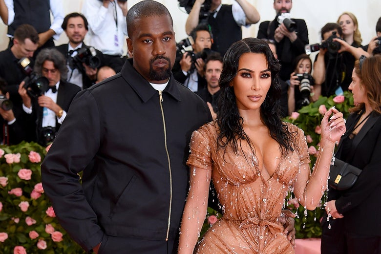 Kanye West and Kim Kardashian West attend The 2019 Met Gala Celebrating Camp: Notes on Fashion at Metropolitan Museum of Art on May 06, 2019 in New York City.