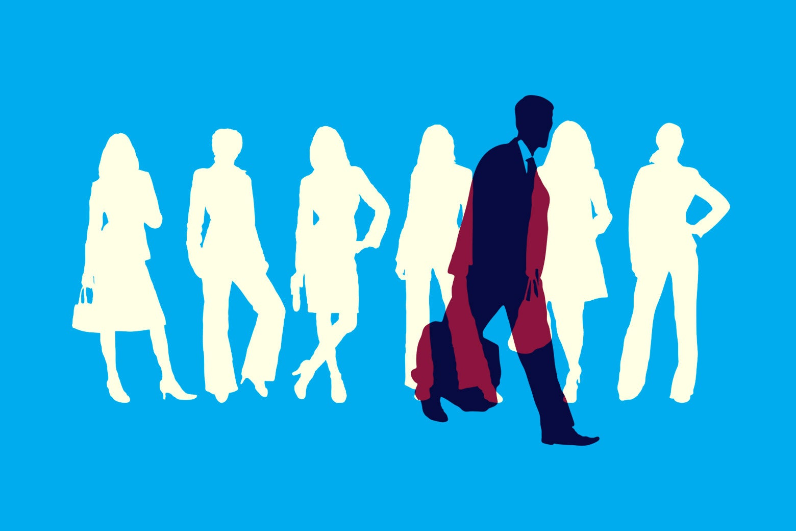 Photo illustration: Women in business suit silhouettes, and the silhouette of a man in a suit walking away with briefcase in hand.