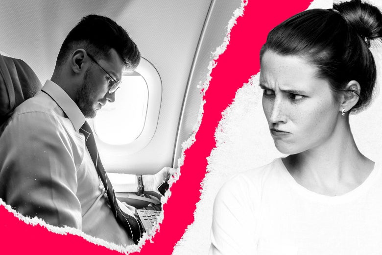 A woman glaring at her husband sitting in first class on a plane.