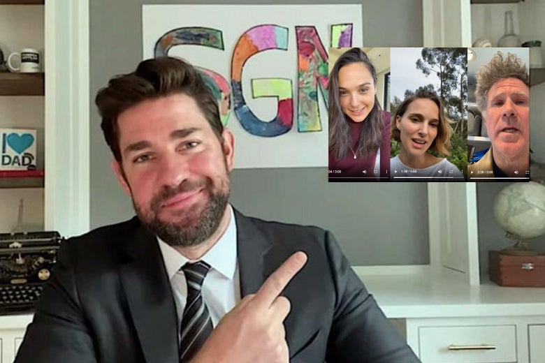 "John Krasinski, wearing a suit and tie and sitting in front of a colorful ""SGN"" sign, points to an upper-right-hand screen that shows the celebrity ""Imagine"" video."