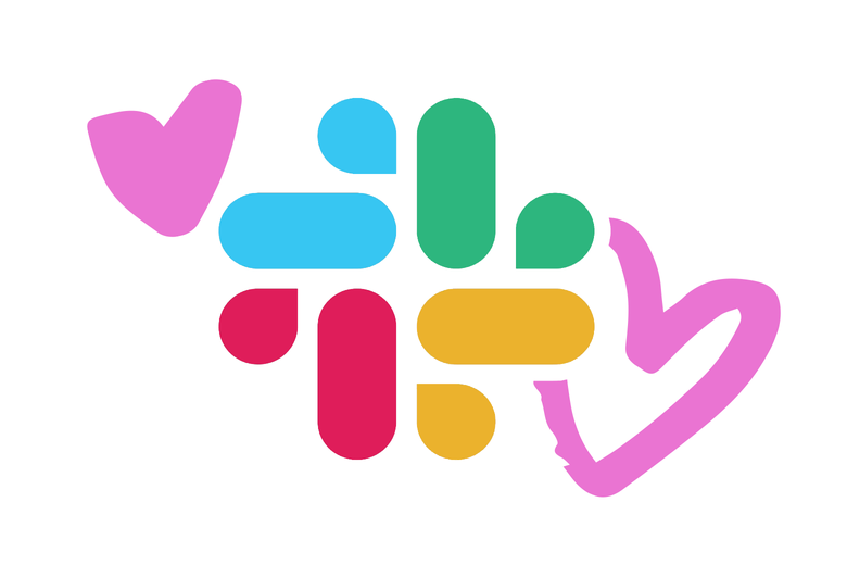 The Slack logo with hearts around it.