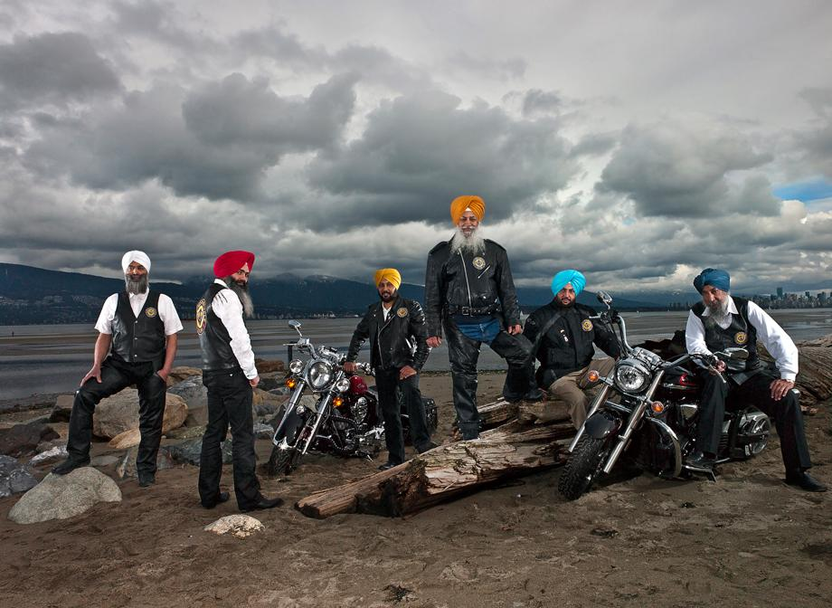 Sikh Motorcycle Club in Stanley Park. Vancouver, British Columbia March 2012
