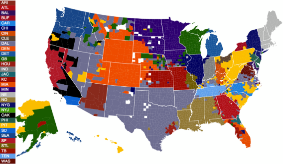 Facebook NFL fan map - regular season