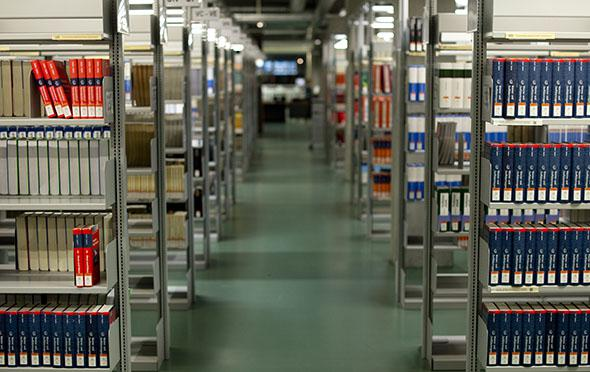 Shelves stacked with books are seen in the library of the Technische Universitaet in Berlin.