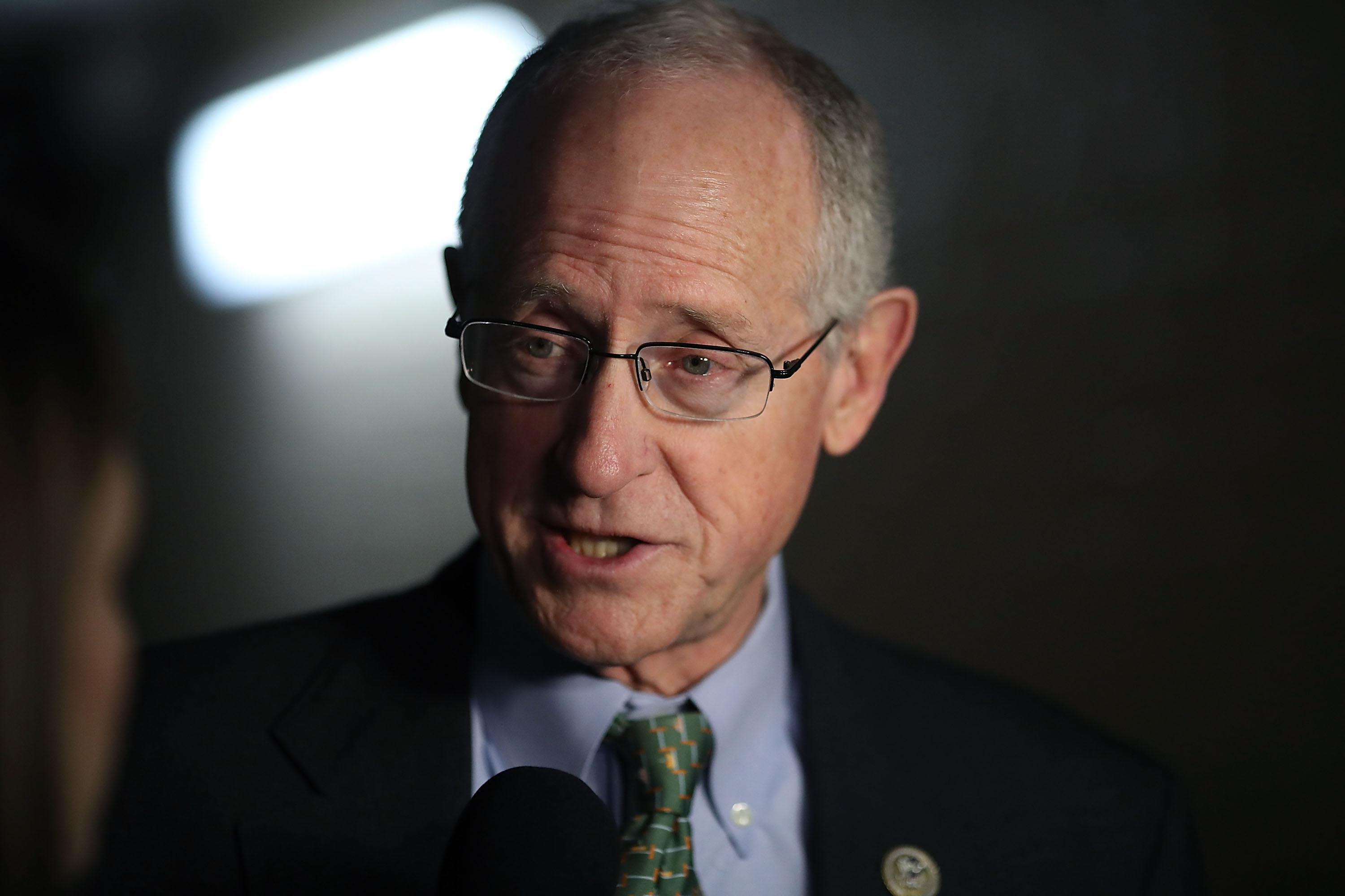 Rep. Mike Conaway speaks to the media after attending a meeting with House GOP members.