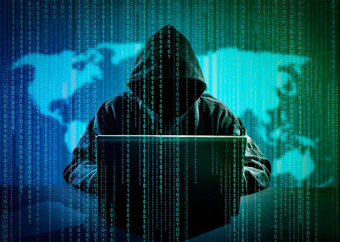 Cybering hacker hacking the internet.