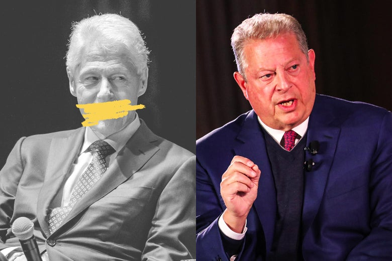 Bill Clinton with his mouth blocked, and Al Gore.