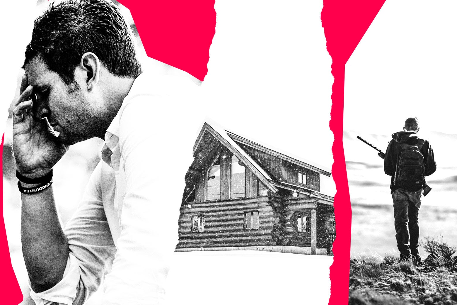 Photo illustration of a cabin, a hunter, and a distraught man.