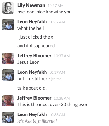 Slack and the office chat: Several people are typing  Who's