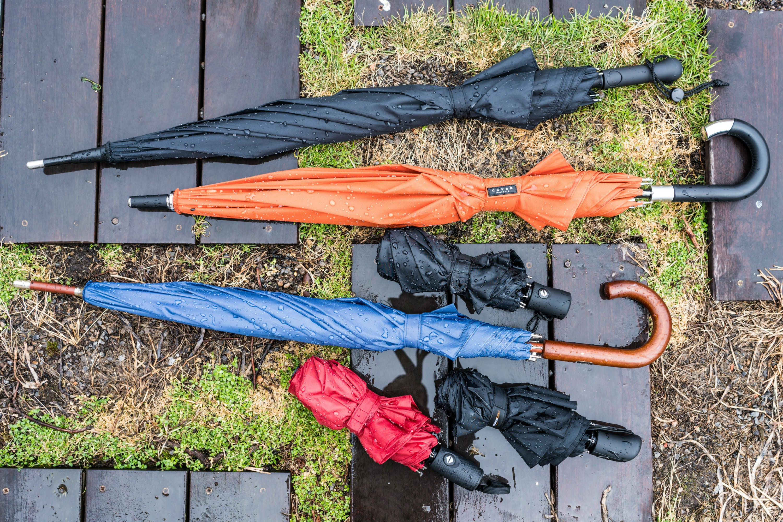 umbrellas on wooden planks